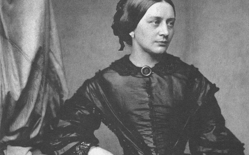 This is a black and white photo of Clara Schumann in 1850